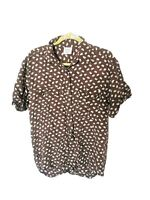 Vintage M S 100% Silk Crazy Ditsy Elephant Pattern Shirt Blouse Brown White