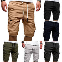 Mens Casual Jogger Shorts Solid Sports Cargo Pants  Vacation Workout Gym Trouser