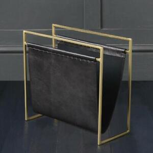 Magazine Rack Holder Storage Leather Black and Black Frame House Soho Furniture