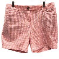 Lands End Womens Fit 2 Bermuda Shorts Multicolor Gingham Pockets 100% Cotton 14