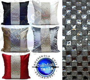 "Large Designer Cushions Or Covers Plain Velvet Square Diamante  17X17""or 21""X21"""
