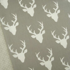Art Gallery ~ Buck Forest Mist Fabric / quilting interior stag head deer grey