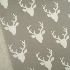Art Gallery ~ Buck Forest Mist Fabric / quilting interior stag head deer grey