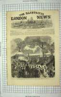 Original Old Antique Print 1867 Queen Royal Albert Hall Art Science Kensington