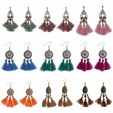 Fashion Bohemian Boho Alloy&Cotton Strings Tassels Drop Dangle Women's Earrings