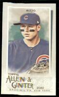 2020 Topps Allen and Ginter Base Mini #86 Anthony Rizzo - Chicago Cubs