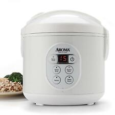 Aroma 8-Cup (Cooked) Digital Rice Cooker and Food Steamer White