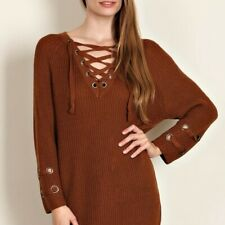Chunky Knit Sweater Lace up Caramel Brown Long Sleeve  S/M