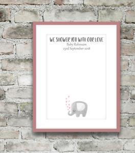 Personalised Baby Shower Fingerprint Birth Keepsake Gift Poster Print A4 PR145