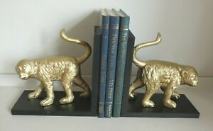 Set of Two  Resin Monkey Bookends - Gold Tone