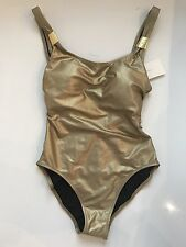 GOTTEX 8 (S) Metallic Gold One Piece Swimsuit $168