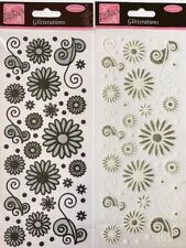 ANITA'S GLITTERATIONS FLORAL FLOWERS BLACK OR WHITE SELF ADHESIVE CRAFT STICKERS