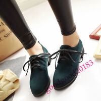 Womens Vintage Ladied chic Lace Up Round Toe Low Top Oxford Pumps Casual Shoes