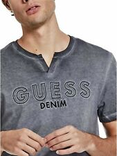 GUESS Mens Black Pigment Dye Embroidered Logo Slit Crew Neck T-Shirt Top XL NEW
