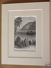 ULLSWATER ANTIQUE DOUBLE MOUNTED ENGRAVING c1890 RARE FROM VINTAGE PUBLICATION