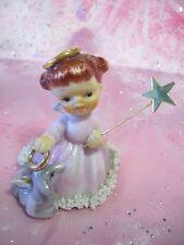 RARE VTG Christmas Pink Angel Girl w Halo Lamb Sheep Easter Figurine SWEET