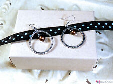 SARA BLAINE Soho Sterling Silver & Chocolate Pearl Earrings ~ French Wires