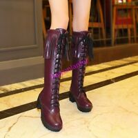 Sexy Womens  PU Leather Knee High Boots Lace Up Tassels Block Heels Shoes Lady