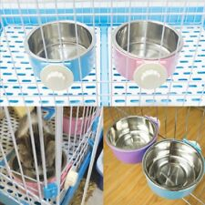 Stainless Steel Pet Feeding Fixed Bowl Cage Food Water Feeder For Dog Cat Rabbit