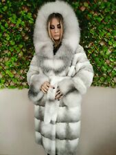 REAL MINK FUR COAT JACKET BLACK WHITE HOOD MEXA  FOX SABLE CHINCHILLA 701