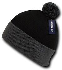 Black / Gray Pom Pom Ski Snowboard Winter Skull Warm Cuffed Long Knit Beanie Hat