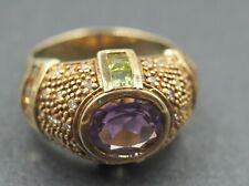 Men Women Ring Gold Plated 925 Silver & Amethyst & CZ Statement THAILAND