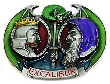 Excalibur Belt Buckle King Arthur & Merlin Sword Authentic Dragon Designs