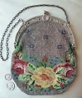 Antique Victorian Floral Leather Lining Glass & French Steel Micro Bead Purse