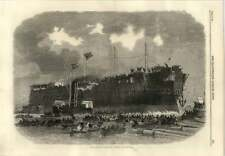 1866 Northumberland Ironclad Floating In The Water Surrounded By Boats