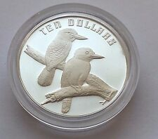 1989 AUSTRALIA TEN DOLLAR SILVER PROOF THE BIRDS OF AUSTRALIA KOOKABURRAS COIN