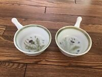 Lot Of 2 Buchan Thistleware Handled Soup Bowls- Stoneware, Made In Scotland