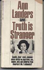 """Ann Landers Says """"Truth Is Stranger"""" 1970 Paperback"""