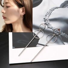 Korean Double Circle Dangling Earrings Geometric BTS Drop Earring Female Jewelry