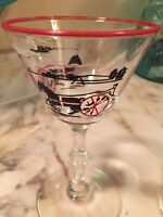 Libbey 1940s Currier and Ives Cocktail Glasses Set Of Two 5.5 Inch