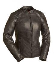 FMC Ladies Black Leather Motorcycle Jacket Mandarin Collar Medium FIL106CCBZ HB