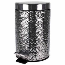 Home Basics Hammered Stainless Steel Garbage Trash Waste Basket Bin With Lid