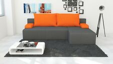 Brand New RIGHT Corner Sofa Bed HUGO 2 With Storage in GREY with ORANGE Pillows