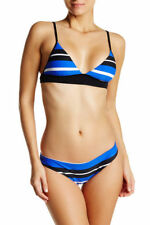 New Seafolly Walk the Line Brazillian Bikini Top and Bottoms Blue US 4-UK 8