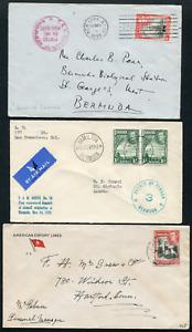 BERMUDA (25343): KG6 maritime/censor/Azores cancel/covers