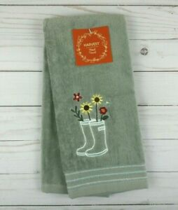 Guest Hand Towel Gray Rain Boots Flowers Sunflowers Terry Cloth