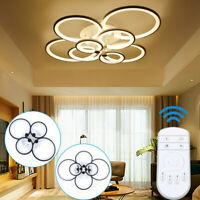 Black Modern LED Pendant Light Kitchen Acrylic Hanging Bedroom Lamp Chandelier