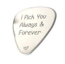 I Pick You Always & Forever ·  Music lover gift · Engraved Guitar Pick . Custom
