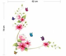 Colour Flower Butterfly Wall Decal Removable Stickers Kids Nursery Art Mural DIY