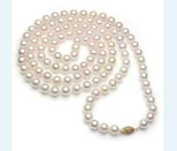 AAA 7-8mm  Akoya white pearl necklace 36 18 25 inch 14k Yellow Gold Clasp