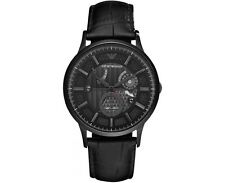 Emporio Armani AR4661 Meccanico Black Dial Leather Strap Automatic Men's Watch