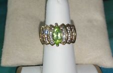 18k Yellow Gold Vermeil sterling silver Peridot marquise cz wide engagement Ring