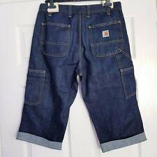 """CARHARTT Men's Denim Altered Shorts Turn Ups W30 Dark Wash Blue Inseam 18"""""""