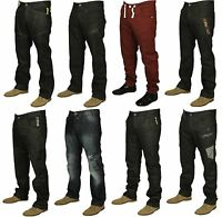 Mens Brand New Enzo Jeans In Black Coated Stone Wash Colours Straight Leg Jeans
