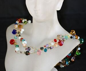 Swarovski Colourful Crystal Crochet Metal Wire Double Necklace (Adjustable)