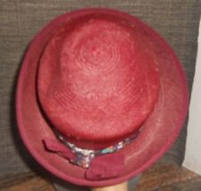 Authentic Women's Burgundy Panama Hat 100% Toquilla Straw with Bow Size 56 (Med)